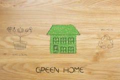A casa feita das folhas ao lado de come o cesto de compras e o recyc locais Imagens de Stock