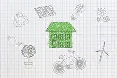 Casa feita das folhas cercadas pela outra conscientização ambiental Imagens de Stock Royalty Free