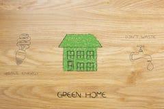 Casa feita das folhas com ícones sobre o salvamento de recursos naturais Fotografia de Stock