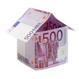 A casa feita de 500 euro- notas de banco Foto de Stock Royalty Free