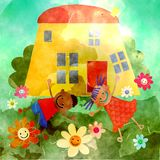 Casa feliz da aquarela Fotografia de Stock Royalty Free