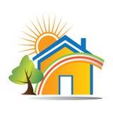 Casa feliz de la insignia ilustración del vector