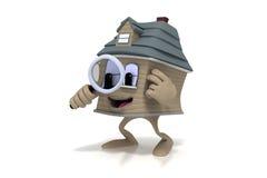 Casa feliz dos desenhos animados que prende uma lupa Foto de Stock Royalty Free