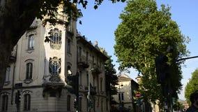 Casa Fenoglio Lafleur is a historic building in Turin. Turin, Piedmont region, Italy. 11 May 2018. Casa Fenoglio Lafleur is a historic building in Turin, emblem stock footage
