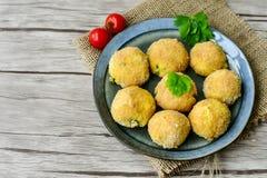 A casa fez a arroz o croquete italiano do estilo Arancini fotos de stock royalty free