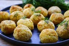 A casa fez a arroz o croquete italiano do estilo Arancini com peixes de Runa fotos de stock