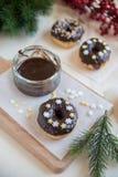 A casa fez filhóses do chocolate Foto de Stock