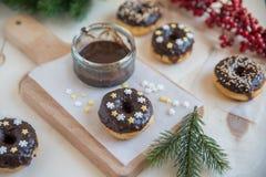 A casa fez filhóses do chocolate Fotografia de Stock Royalty Free
