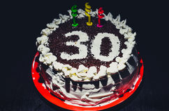 A casa fez o bolo de aniversário para o 30o aniversário Fotografia de Stock