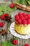 A casa fez o bolo doce com framboesa Imagem de Stock Royalty Free