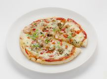 A casa fez pizza misturada Fotografia de Stock