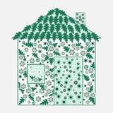 Casa floral adornada del eco stock de ilustración