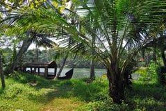 Casa flutuante em Kerala Fotografia de Stock