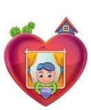 Casa a forma di del cuore Fotografie Stock