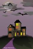 Casa frecuentada de Halloween Imagen de archivo libre de regalías