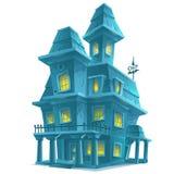 Casa frequentata in Halloween su fondo bianco Fotografia Stock Libera da Diritti