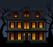 Casa frequentata nella notte. Illustrazione di vettore. Immagini Stock Libere da Diritti