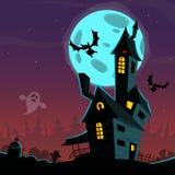Casa frequentata spaventosa del fumetto Illustrazione del fondo di vettore di Halloween Fotografia Stock Libera da Diritti