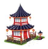 Casa giapponese con le mattonelle di tetto Illustrazione di Stock