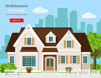 Casa gráfica moderna à moda da casa de campo Ilustração lisa do vetor do estilo Ajuste com construção, fundo da cidade, banco, ár Imagem de Stock