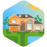 Casa grande com entrada Imagem de Stock Royalty Free