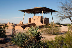 Casa Grande Ruins. National Monument in Arizona contains an imposing 4-story building dating from the late Hohokam period, probably 14th century. In 1892, the stock photography