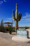 Casa Grande Ruins National Monument. Sign and big saguaro, Coolidge, Arizona stock images