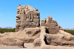 Casa Grande Ruins National Monument Arizona. Casa Grande Ruins National Monument preserves remains of an ancient Hohokam era farming village located in Coolidge stock image