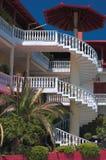 Casa griega con los balcones Fotografía de archivo