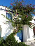 Casa griega tradicional con Bongovilia imagen de archivo