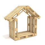 Casa hecha de plataformas euro Vista lateral 3d rinden stock de ilustración