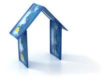 Casa hecha de tarjetas de crédito ilustración del vector