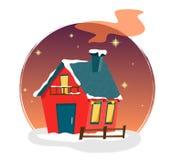 Casa hermosa de la Navidad en un fondo redondo con las guirnaldas y las estrellas en el cielo nocturno ilustración del vector