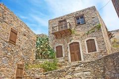 Casa histórica para lepers no console de Spinalonga. Fotos de Stock