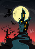 Casa horrívea velha assustador de Dia das Bruxas Fundo do vetor dos desenhos animados foto de stock