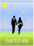 Casa ideal e pares felizes Ilustração Stock