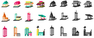 casa, igreja, loja, construção, e outro coloridas da silhueta 3D Fotos de Stock Royalty Free