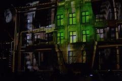 Casa iluminada en el festival ligero Foto de archivo