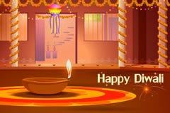 Casa india adornada con diya en la noche de Diwali