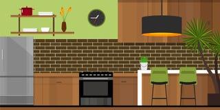 Casa interna della mobilia della cucina Fotografia Stock Libera da Diritti