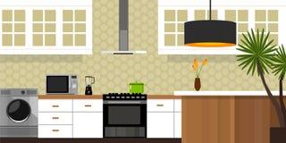 Casa interna della mobilia della cucina Fotografie Stock