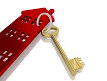 Casa isolada com o símbolo chave dos bens imobiliários que backg branco Imagens de Stock Royalty Free