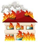 Casa isolata su fuoco illustrazione vettoriale