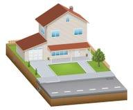 Casa isométrica com jarda Foto de Stock Royalty Free