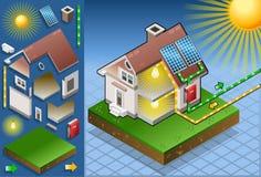 Casa isométrica con el panel solar Imagen de archivo libre de regalías