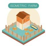 Casa isométrica de la granja para los conejos Imagen de archivo