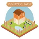 Casa isométrica de la granja para los patos Foto de archivo libre de regalías