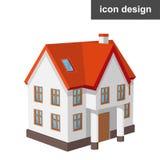Casa isometrica dell'icona Fotografia Stock