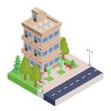 Casa isometrica di Brown con i balconi illustrazione vettoriale