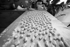 Casa italiana di gnocchi della patata fatta Immagine Stock